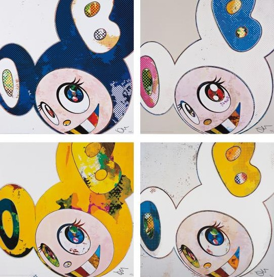 Takashi Murakami-And Then x 6 (Marine Blue, White -Pink and Blue Ears, White - Blue and Yellow Ears - The Superflat Method, Yellow Universe)-2013
