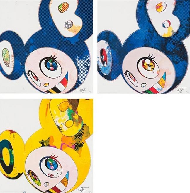 Takashi Murakami-And Then x 6 (Marine Blue The Superflat Method), And Then x 6 (Blue Superflat Method), And Then (Yellow)-2013