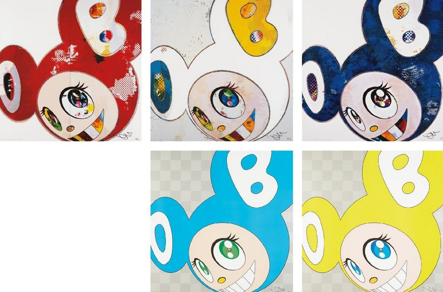 Takashi Murakami-And Then x 6 Red, And Then x 6 (White-Blue, Yellow Ears), And Then x 727 (Ultramarine-GUNJO), DOB in Pure White Robe (Pink, Blue), DOB in Pure White Robe (Navya, Vermillion)-2013