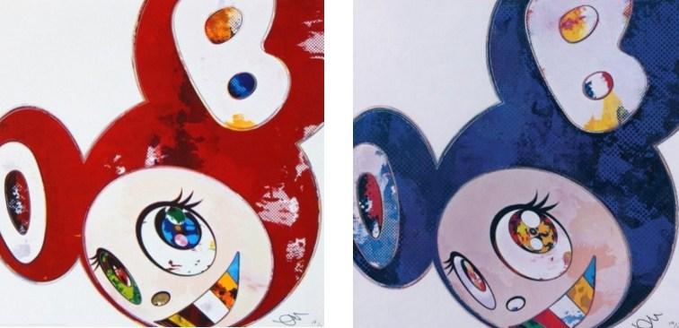 Takashi Murakami-And Then x 6 (Red- The Superflat Method); And Then x 6 (Blue-The Superflat Method)-2013