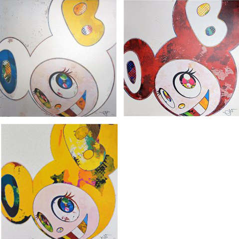Takashi Murakami-And Then x 6 (White - Blue and Yellow Ears, Vermillion The Superflat Method), And Then (Yellow Universe)-2013