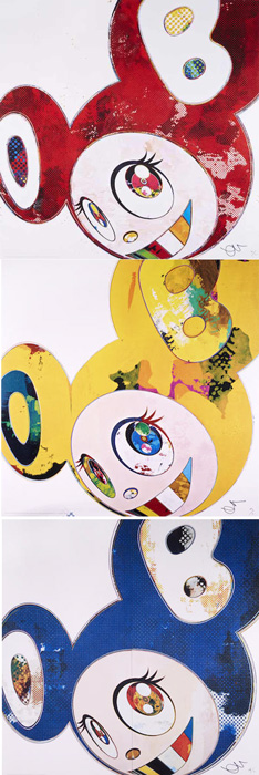 Takashi Murakami-And Then x6 Blue; And Then, And Then, And Then Yellow Universe; And Then x6 (White: The superflat Method, Pink and Blue Ears); And Then x6 (Vermillion: The Superflat Method)-2013