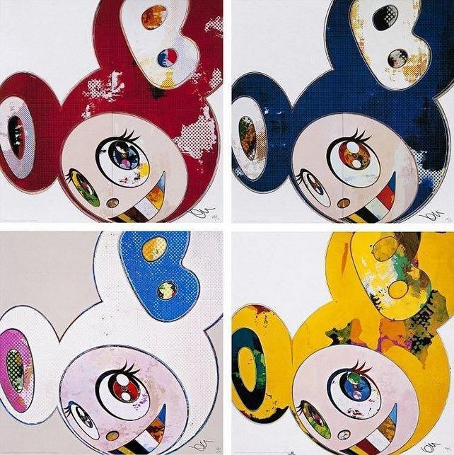 Takashi Murakami-And Then x6 (Red, Blue, White, Yellow Universe)-2013