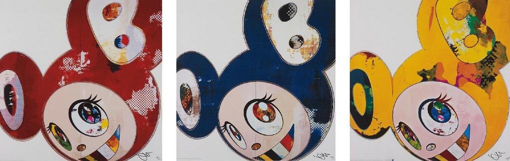 Takashi Murakami-And Then x6 (Red, Blue, Yellow)-2013