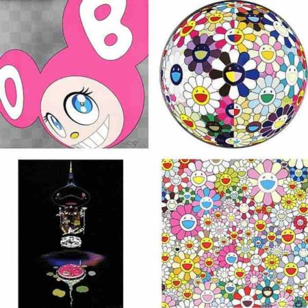Takashi Murakami-And then (Pink), Flowerball (3D) From the Realm of the Dead, Reversed Double Helix-Black Head Brown Body, Flower Smile-2011