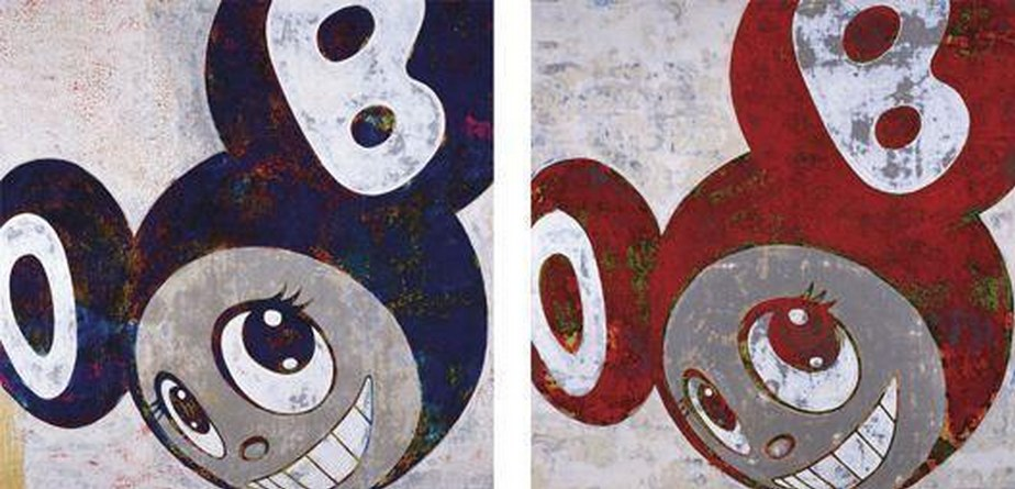 Takashi Murakami-And Then (Red and Blue)-1996
