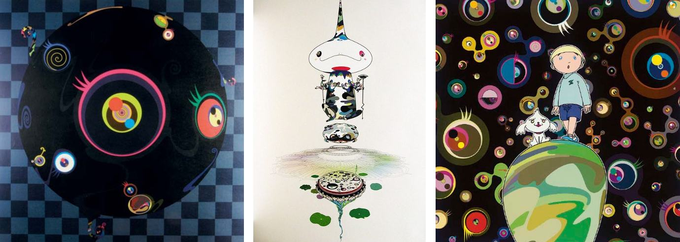 Takashi Murakami-Blackbeard, Reversed Double Helix, Jelly Fish Eyes-MAX and Shimon in the Strange Forest-