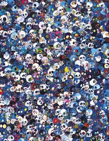 Takashi Murakami-Blue Skull Painting-2012