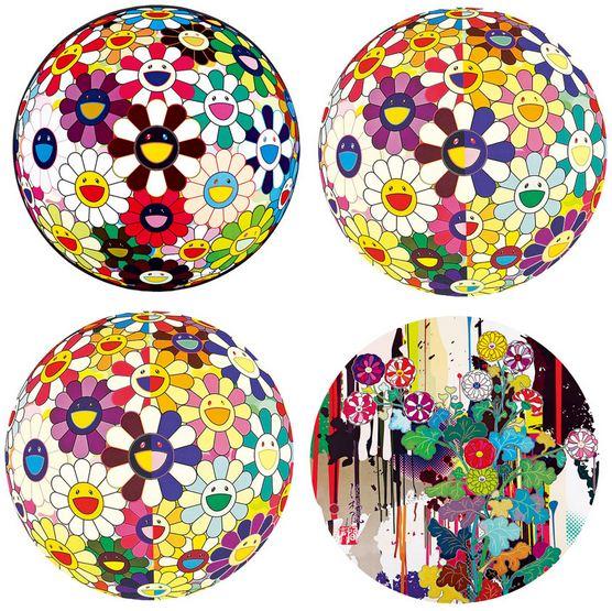 Takashi Murakami-Brown Tea Colored 3D Ball, 3D Ball - I, 3D Ball - II, Kansei-2011