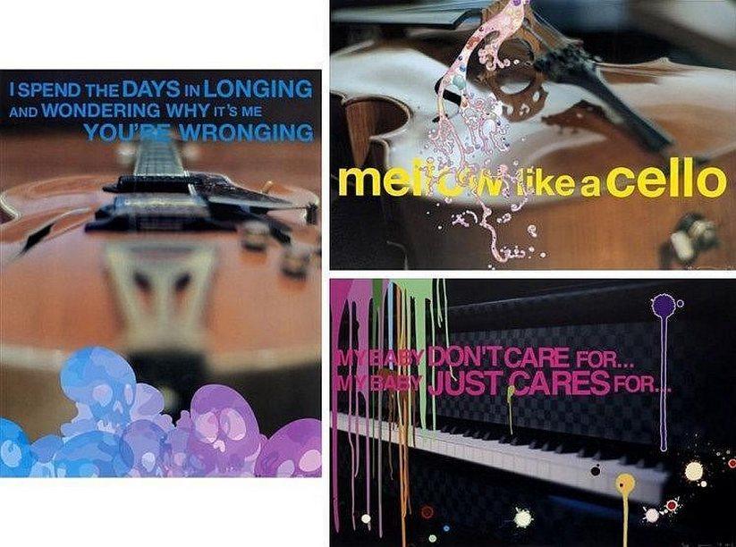 Takashi Murakami-Cello + Cellular Shower, Piano + Daruma Drip, Guitar + Time Skull-2008