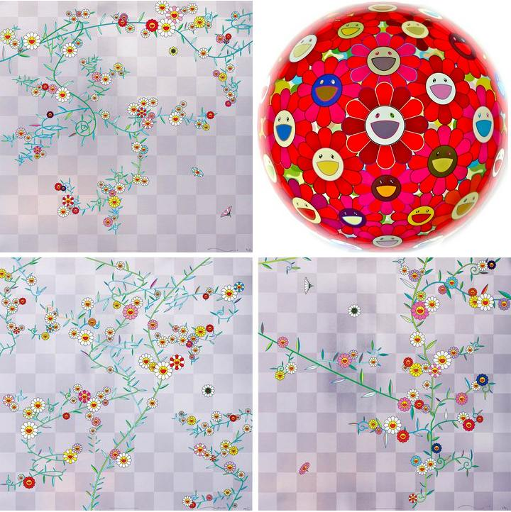 Takashi Murakami-Cosmos, Cube, Cube2, Flowerball (3D) Red Cliff-2010