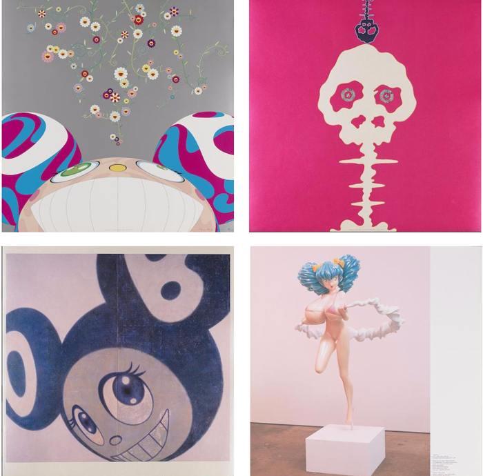 Takashi Murakami-DOB Flower, Mushroom Bomb Pink, And Then (Blue), Hiropon-