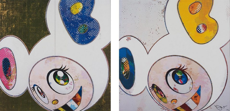 Takashi Murakami-DOB in Pure White Robe (Pink & Blue), And Then x 6 (White - The Superflat Method, Blue and Yellow Ears)-2013