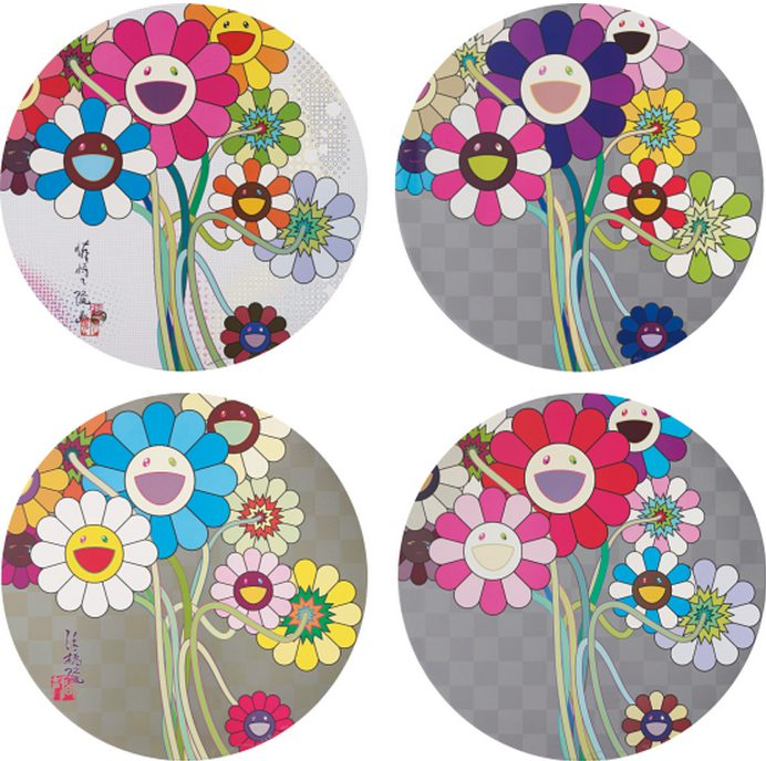Takashi Murakami-Even The Digital Realm Has Flowers To Offer, Warhol - Silver, Purple Flowers In A Bouquet, Flowers for Algernon-2010