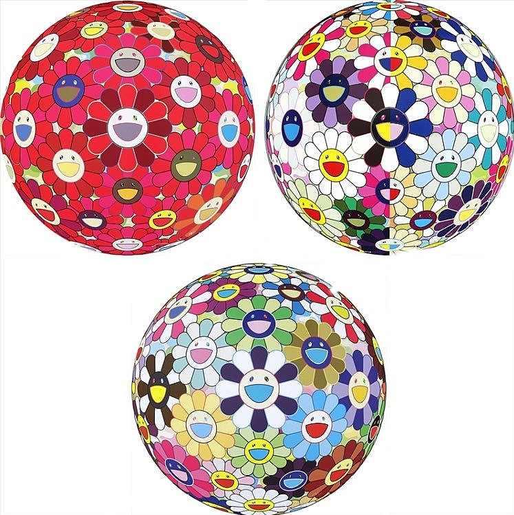 Takashi Murakami-Flower Ball (3-D) Red Cliff; Flowerball (3D) From the Realm of the Dead; Flower Ball (3-D) Kindergarten-2011