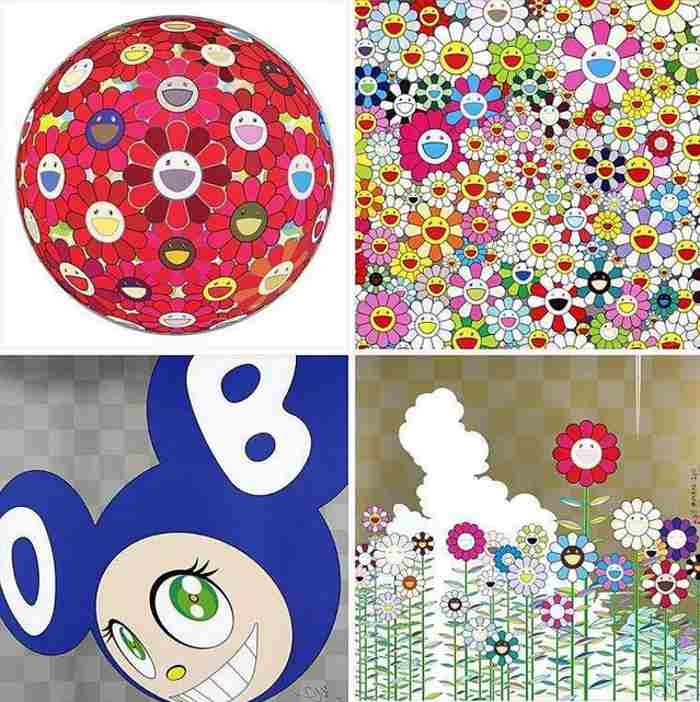 Takashi Murakami-Flower Ball (3D) Red Cliff, Maiden in The Yellow Straw Hat, And Then (Blue), Warm and Sunny-2011