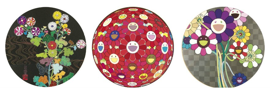 Takashi Murakami-Flower Ball (3D) Red Cliff, Purple Flowers In A Bouquet, Kansei - Skulls-2010