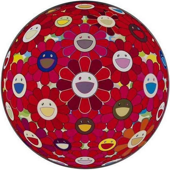 Takashi Murakami-Flower Ball (3D) Red Cliff-2008