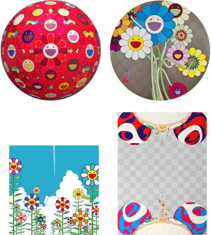 Takashi Murakami-Flower Ball (3D) Red Cliff, Flowers for Algernon, Vapor Trail, Flowers Have Bloomed-2010