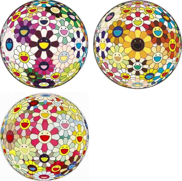 Takashi Murakami-Flower Ball Blood V (3D), Flower Ball Sunflower (3D), Flower Ball Margaret (3D)-2008