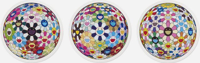 Takashi Murakami-Flower Ball Cosmos 3D, Flower Ball Kindergarten 3D, Flower Ball Blood 3D-2011