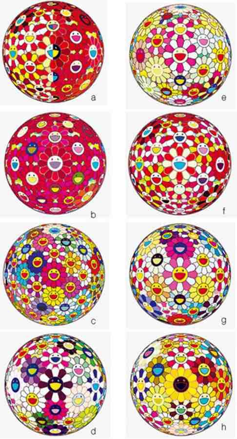 Takashi Murakami-Flower Ball Margaret (3D), Flower Ball Goldfish (3D), Flower Ball Pink, Flower Ball (3D) Sunflower, Flower Ball Red (3D) The Magic Flute, Flower Ball (3D) Red Cliff, Flower Ball (3D), Flower Ball Brown-2011