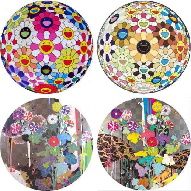 Takashi Murakami-Flower Ball Pink, Flower Ball (3D) Sunflower, With Reverence I Lay Myself Before You-Korin-Chrysanthemum, Kansei Like The River's Flow...-2010