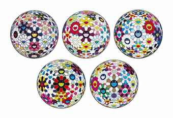 Takashi Murakami-Flower Ball Sequoia sempervirens (3-D); Flower Ball (3-D) Autumn; Flower Ball (Lots of Colors); Flowerball Sexual Violet No. 1 (3D); Right There, The Breadth of the Human Heart-2013