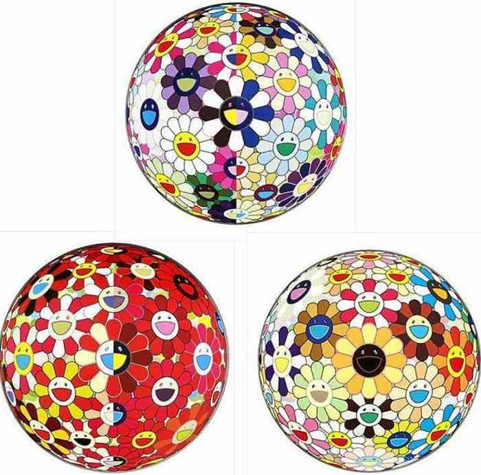 Takashi Murakami-Flowerball (3D) From the Realm of the Dead, Flowerball Red (3D) The Magic Flute, Flower Ball (3D) Sunflower-2011