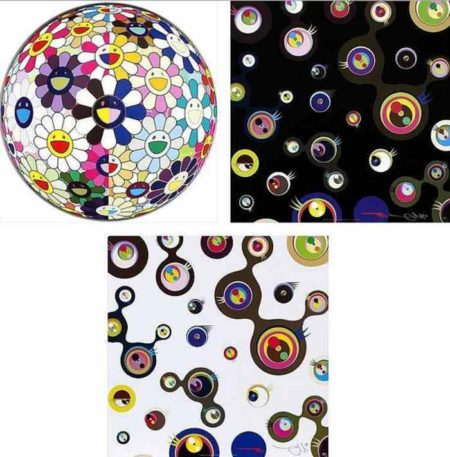 Takashi Murakami-Flowerball (3D) From the Realm of the Dead, Jellyfish Eyes Black 3, Jellyfish Eyes White 2-2011