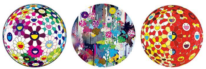 Takashi Murakami-Flowerball Brown, Kansei Abstraction, Flower Ball Red 3D the Magic Flute-2010