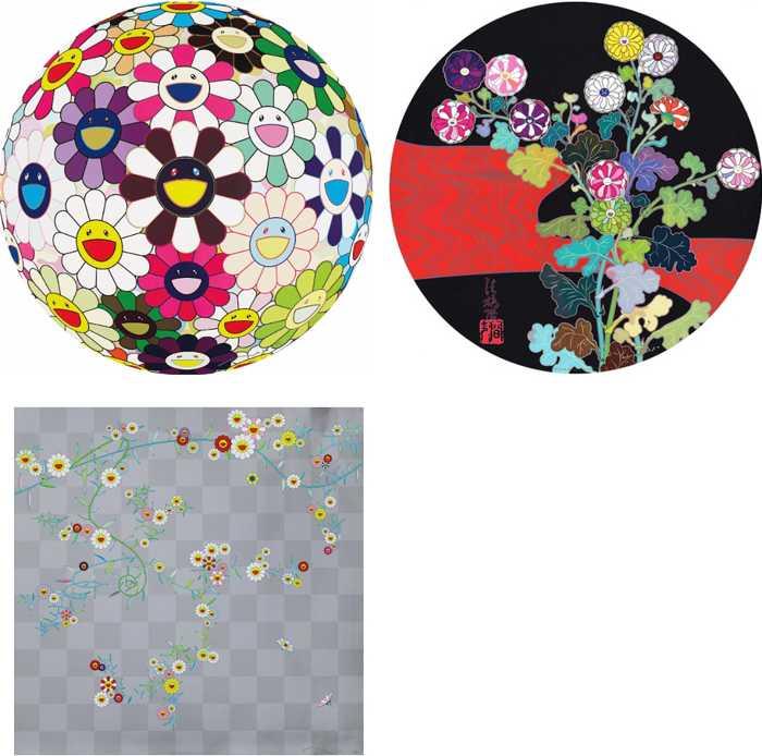 Takashi Murakami-Flowerball Brown, Kansei Korin Red Stream, Cube 2-2010
