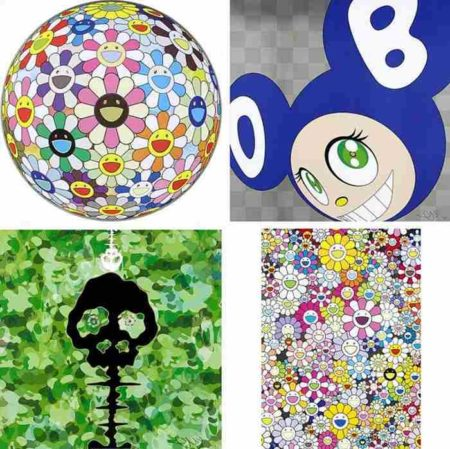 Takashi Murakami-Flowerball Cosmos (3D), And Then (Blue), Time-Camouflage Moss Green, An Homage to Yves Klein Multicolor B-2012