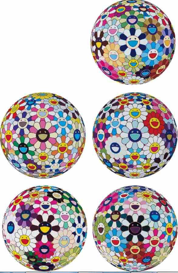 Takashi Murakami-Flowerball Cosmos (3D), Flowerball Brown, Flower Ball (3D) Kindergarten, Flower Ball (3D) Sequoia sempervirens, Flowerball Blood (3D) V-2013