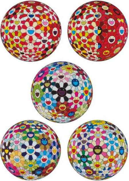 Takashi Murakami-Flowerball Goldfish Colors (3D), Flowerball Red (3D) The Magic Flute, Flowerball Blood (3D) VII, Flower Ball (3D) Kindergarten, Flowerball Cosmos (3D)-2011