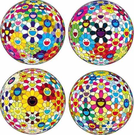 Takashi Murakami-Flowerball Kindergarten, Flowerball Blood, Flowerball Sunflower, Flowerball Cosmos-2011