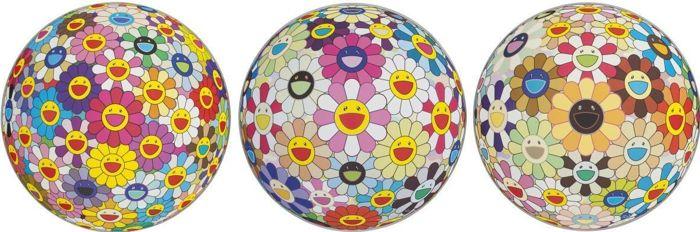 Takashi Murakami-Flower Ball Pink, Flower Ball (3D) Sunflower, Flower Ball (3D)-2011