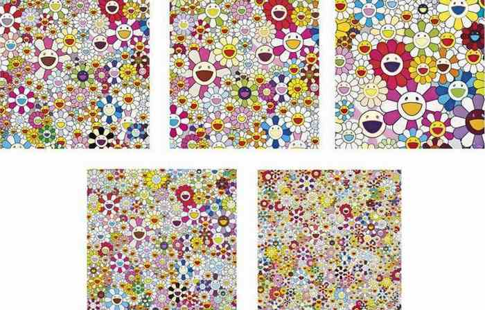 Takashi Murakami-Flowers Blooming in This World and the Land of Nirvana (Set of 5)-2013