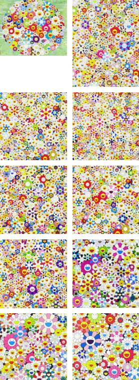 Takashi Murakami-Flowers, Flowers..., Open your hands wide..., Field of smiling Flowers, Flowers in Heaven, If I could reach that Field of Flowers..., Maiden in the yellow Straw Hat, Such cute Flowers,Flower Smile,Poporoke Forest,Open your hands wide-
