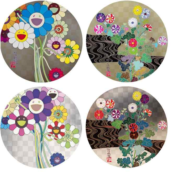 Takashi Murakami-Flowers For Algernon, Kansei Korin Gold, Warhol Silver, Kansei Voice Of The Mountain Stream-2009