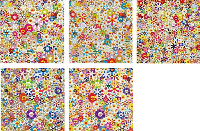 Takashi Murakami-Flowers in Heaven, Field Smiling Flowers,Open Your Hands Wide Embrace Happiness, If I Could Reach That Field of Flowers I Would Die Happy-2010
