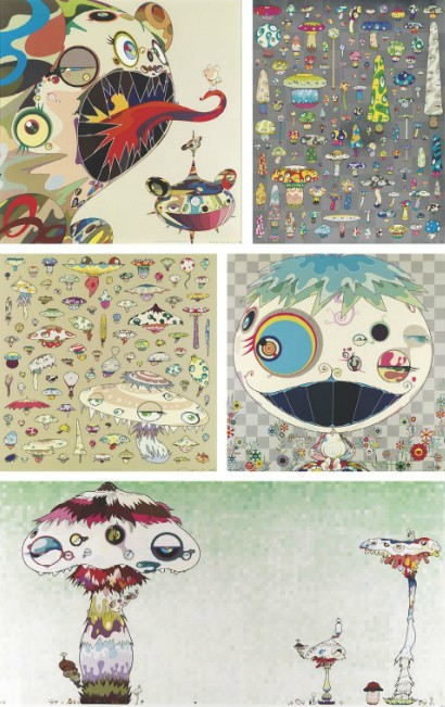 Takashi Murakami-Homage to Francis Bacon (Study of George Dyer), Posi Mushroom, Champignon, Jelly fish, Hypha will cover the world, little by little-2009
