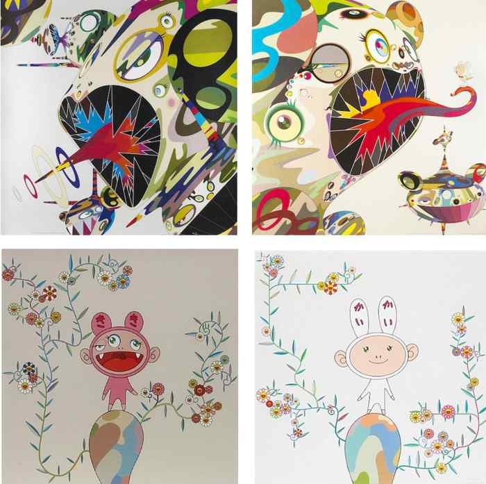 Takashi Murakami-Homage to Francis Bacon (Study of Isabel Rawsthorne), Homage to Francis Bacon (Study of George Dyer), Kiki with Moss, Kaikai with Moss-2004