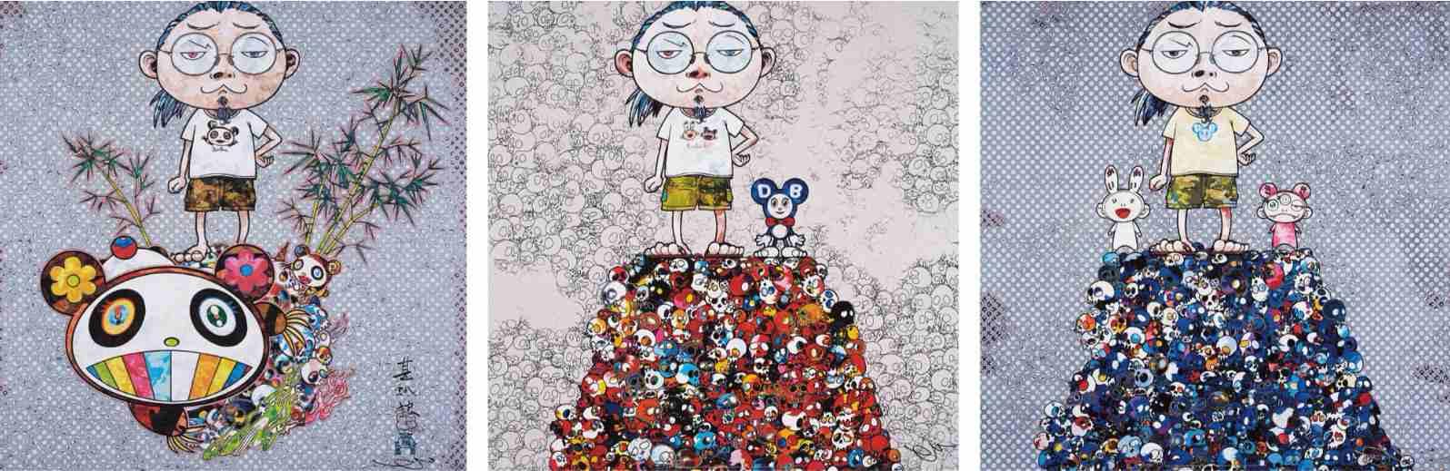 Takashi Murakami-I Met a Panda Family, Kaikai Kiki and Me-On the Blue Mound of the Dead, Dob and Me-On the Red Mound of the Dead-2013