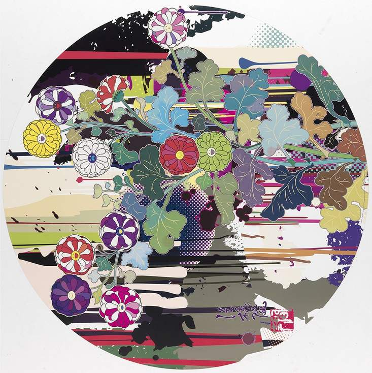 Takashi Murakami-I Recall The Time When My Feet Lifted Off The Ground Ever So Slightly-Korin-Chrysanthemum-2009