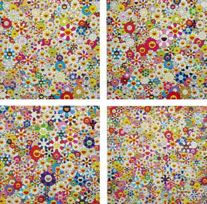 Takashi Murakami-If I Could Reach That Field of Flowers I Would Die Happy, Open Your Hands Wide Embrace Happiness, Field of Smiling Flowers, Flowers in Heaven-2010