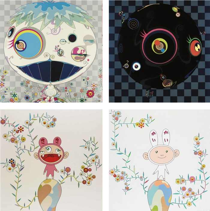 Takashi Murakami-Jelly Fish, Blackbeard, Kiki with Moss, Kaikai with Moss-2004
