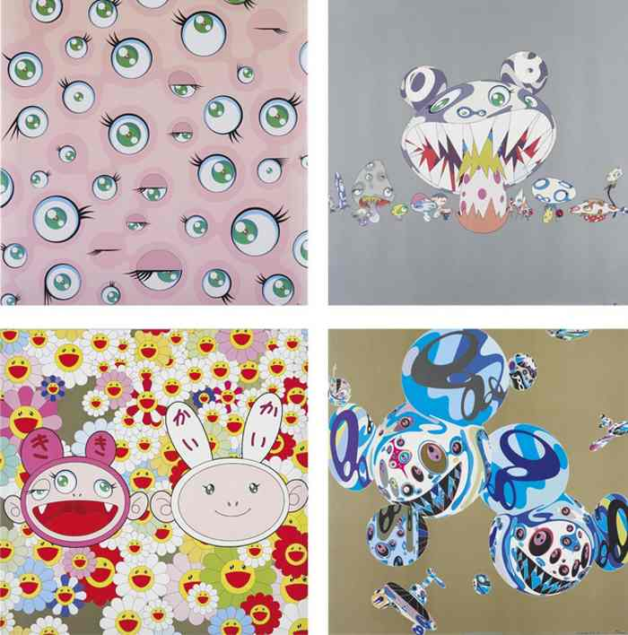 Takashi Murakami-Jelly Fish Eyes, Here Comes Media, Kaikai Kiki News, Reversal DNA-2001