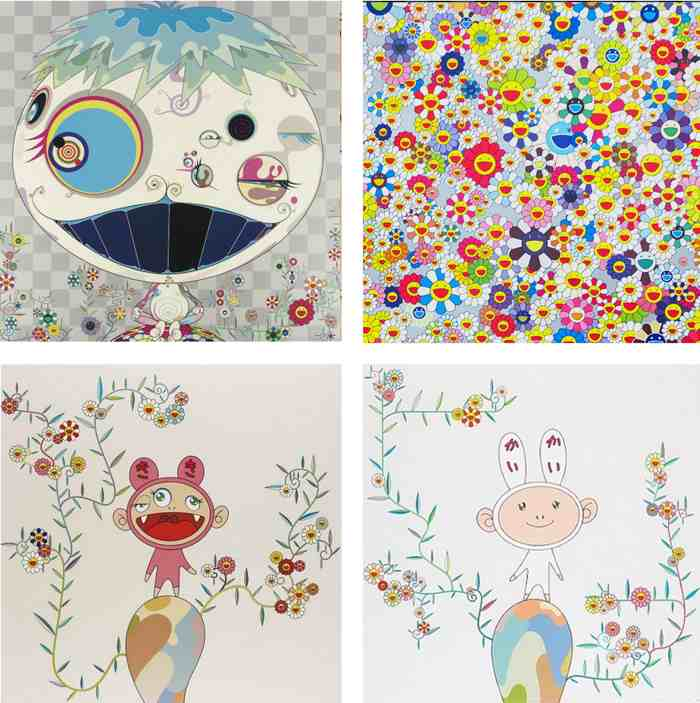 Takashi Murakami-Jelly Fish, Flowers,Kiki with Moss, Kaikai with Moss-2003