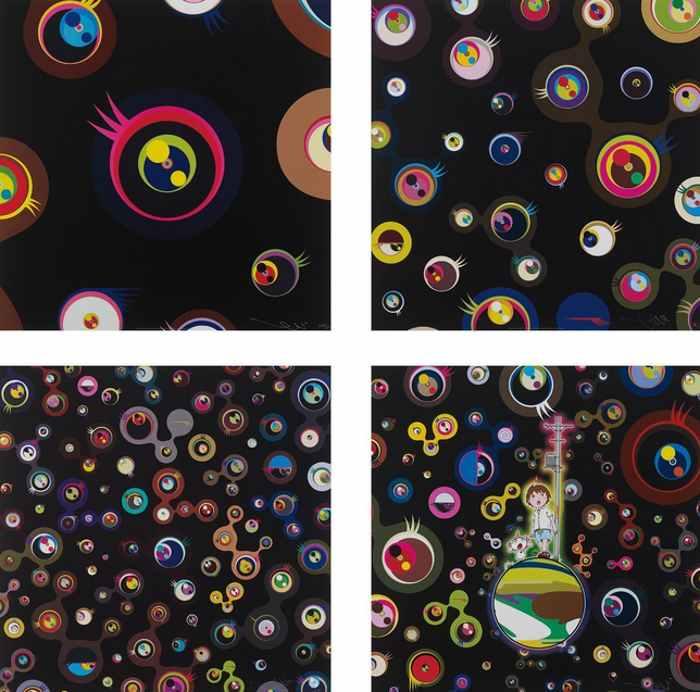 Takashi Murakami-Jellyfish Eyes - Black 1, Jellyfish Eyes-Black 3, Jellyfish Eyes-Black 5, Jellyfish Eyes-2012